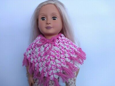 Doll Poncho - Handmade - Girl - Crochet - Knit Clothes - Pink and White - Toys