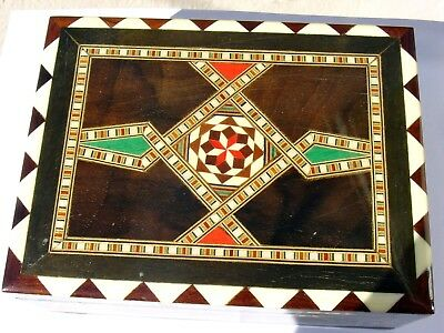 Egyptian Mother Of Pearl Paua Green Red Wooden  Inlaid  Mosaic  Jewelry  Box