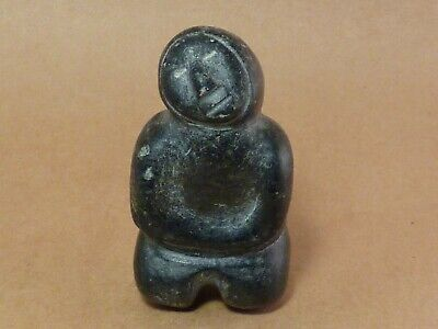 Vintage Inuit Carved Soapstone Man / Inuk Signed Small Primitive Sculpture