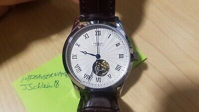 TISELL Dress Watch 40mm MIYOTA 9015 Automatic Open Heart Skeleton Blued Hands