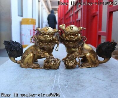 Chinese Old Copper Bronze Guardian Feng Shui Evil Fu foo Dog Lion Statue Pair