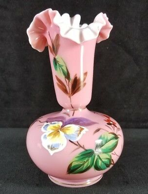 Antique Victorian Late 1800s English Bristol Hand Painted Glass Vase w Pontil VF