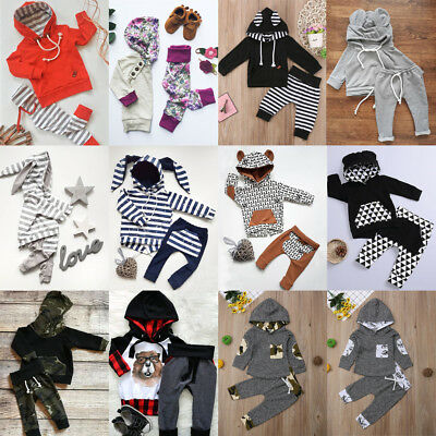 AU Infant Toddler Baby Girl Boys Hooded Tops Pants Trousers Outfits Set Clothes