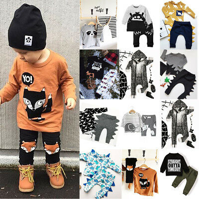AU Newborn Toddler Baby Boys Long Sleeve Tops T-shirt Pants Outfits Clothes Set