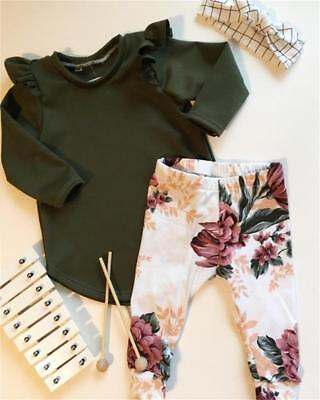 AUAU STOCK Cute Newborn Baby Girls Tops Romper Floral Pants Outfits Set Clothes
