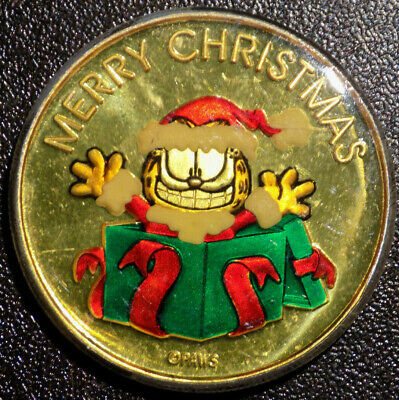 Garfield Merry Christmas Paws 1 oz .999 Fine Silver enameled art round