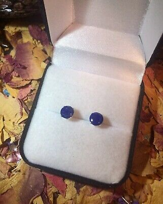 Quality natural Lapis Lazuli 6mm round faceted sterling silver stud earrings 🌀