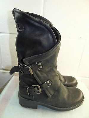 f93aa2c67d0c Coolway Alida Black Leather Motorcycle Boot Women Size 36 6M Made in SPAIN