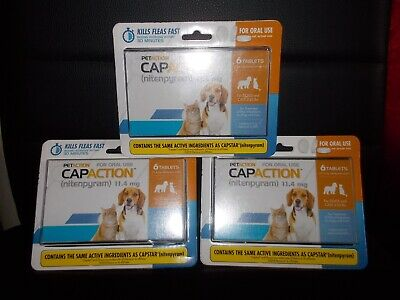 3 NEW PETACTION CAPACTION 6 tablets For dogs and cats 2-25 lb compare to capstar