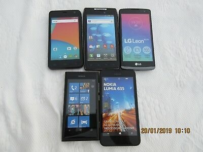 Lot de 5 TELEPHONES  PORTABLES  FACTICES Motorola,Mobiwire,LG,Nokia