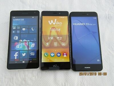 Lot de 3 TELEPHONES  PORTABLES  FACTICES , Wiko , Huawei , Microsoft