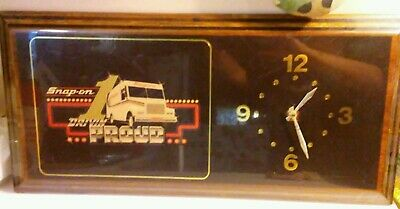 Snap On Tools Vintage Advertising Sign / Clock 80's Drivin Proud