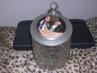 Antique German Stein , Hand Painted Pub Scene On Lid , Cut Glass, Signed 19thC