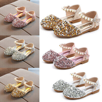 Baby Kids Girls Toddler Leather Sequin Princess Shoes Wedding Party Sandals Size