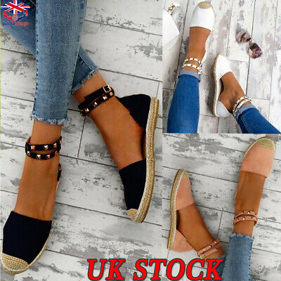 Ladies Womens Flat Heel Stud Espadrilles Ankle Strap Sandals Summer Casual Shoes