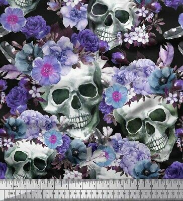 Soimoi Fabric Skull,Rose & Anemone Flower Print Sewing Fabric Meter-FW-207C