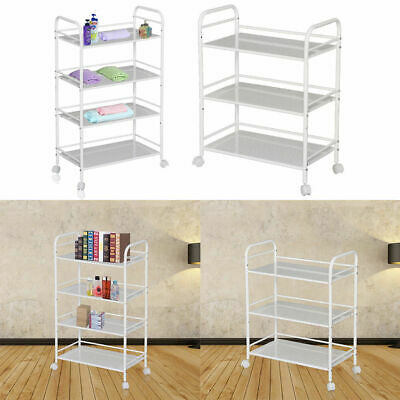 Removable 3/4/5 Tiers Metal Rolling Wheel Beauty Salon Trolley Cart Spa Storage
