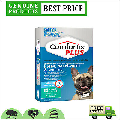 COMFORTIS PLUS for Dogs 3 Doses 9.1 to 18 Kg GREEN Pack EXPIRY JUNE-19
