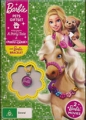 Barbie Pets Giftset A Pony Tale and Puppy Chase DVD NEW free bracelet Region 2 4
