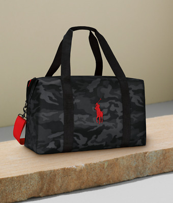 Ralph Lauren Black Grey Camo with Red Duffle Weekender Gym Bag 100% Genuine