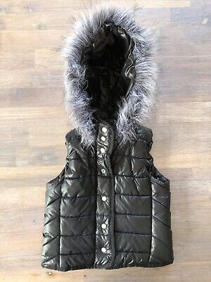 Seed Heritage Girls Size 4-5 Black Puffer Vest With Fake Fur Lined Hood