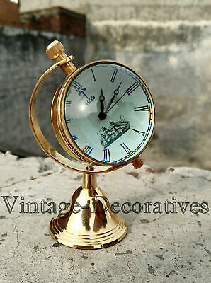 Brass Finish Fully Functional Table Top Clock Vintage Style W/Brass Stand Clock