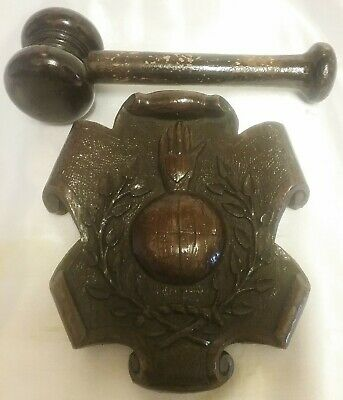 Hand Crafted Masonic Lodge Hand Gavel & Carved Block 1920's