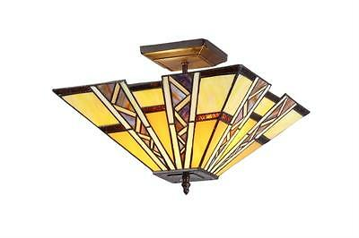 """Stained Glass Chloe Lighting Mission 2 Light Semi Flush Ceiling Fixture 14"""" New"""