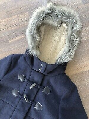 Girls Size 5 Navy Blue Jacket Coat, Fluffy Faux Fur Lined Hood And Trim