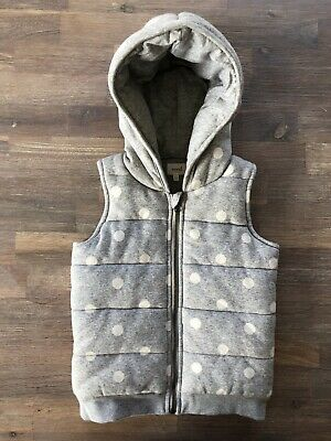 Seed Heritage Girls Size 5-6 Puffer Vest With Hood. Grey With White Spots