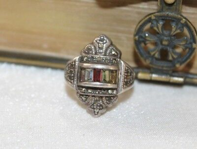 ART DECO vintage STERLING Silver MARCASITE & Paste Family Ring sz 6