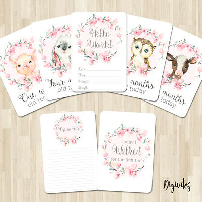 Baby, Girl Milestone Cards Floral Animal Wreath, 28 card pack, Baby Shower gift