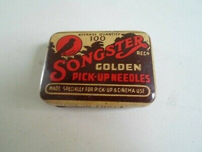 Songster Golden Pick-Up Needles Tin WITH UNUSED NEEDLES IN - Nearly full