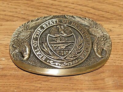 Pennsylvania State Seal Series Brass Belt Buckle - First Edition Excellent Cond.