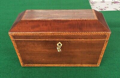 Antique Sarcophagus Tea Caddy With Marquetry Veneer Banding,Foil Lined & KEY
