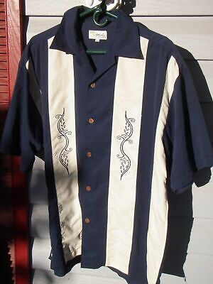 Studio California Blue & Cream Striped Hawaiian Shirt Mens sz.L Large.