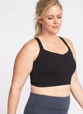 cb2ef63a888249 OLD NAVY HIGH-SUPPORT Plus-Size Mesh-Racerback Sports Bra Black ...
