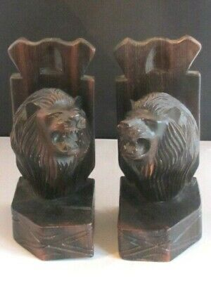 Pair Large Heavy Solid Carved Wooden Antique Black Forest Snarling Lion Bookends