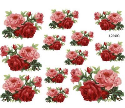 To DiE 4 PinK /& ReD DouBLe RoSeS ShaBbY WaTerSLiDe DeCALs ~FuRniTuRe Size~