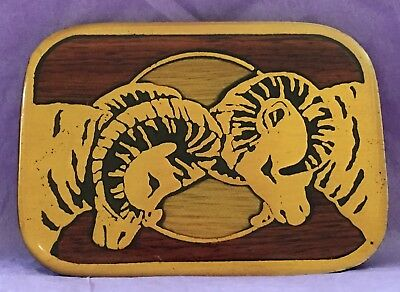 VTG 1970's TWO BIG HORN RAMS Brass Wood Inlay Laquer Harmony Metals BELT BUCKLE