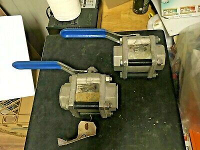 MCF 1-1/2 inch forged Stainless Steel Ball Valves (two) 1000 PSIG,  socket Weld