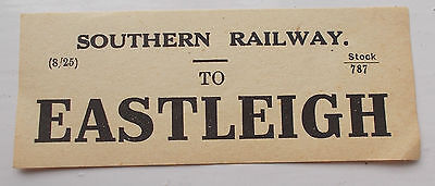 Original LSWR style SR Luggage Label To Eastleigh dated 8/25  Ref stock/787