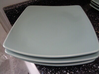 Marks And Spencer Andante Square Dinner Plates X 3 - Light Green