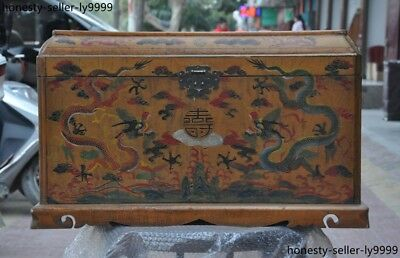Old Chinese lacquerware wood Dragon Long writing longevity Storage box Boxes
