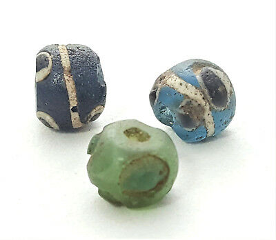 3 Ancient Blue Green Glass Eye beads Early Islamic Found In Mali African Trade