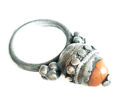 Antique Silver Red Coral Ring size 7 Yemen tribal jewelry