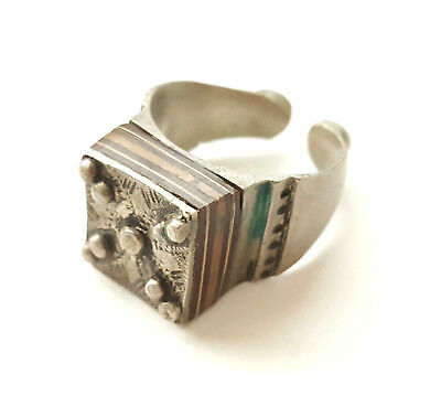 antique Tuareg very rare elevated engraved table silver ring size 9