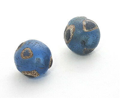 2 Ancient Blue Glass Eye beads Early Islamic Found In Mali, African Trade