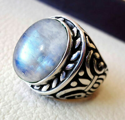Solid 925 Sterling Silver Natural Rainbow Moonstone Gemstone Mens Ring H To Z