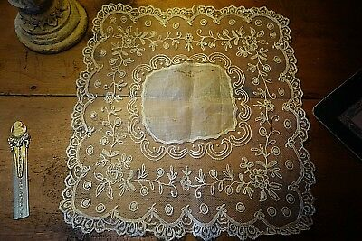 """Hand made Lace Doily Post Civil War  1868  Monographed Approx. 12"""" x 14"""""""